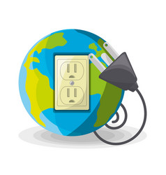 planet use alternative energy for save the world vector image