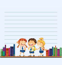 Line paper template with kids and books vector