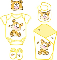 Cute baby layette with bear and butterfly - vector