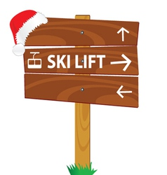 Wooden sign for the ski lift vector