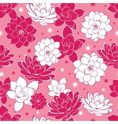 Pink ink flowers seamless pattern vector