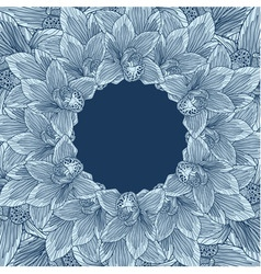 Blue orchid flower frame vector