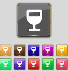 Wine glass alcohol drink icon sign set with eleven vector
