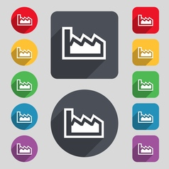 Chart icon sign a set of 12 colored buttons and a vector