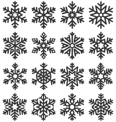 Black flat simple traditional classic snowflakes vector