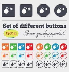 Bomb icon sign big set of colorful diverse vector