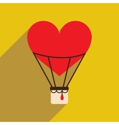 Flat web icon with long shadow air balloon heart vector image