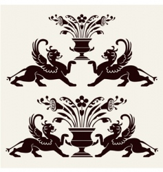 set of heraldic ornaments vector image