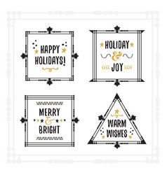 black and golden holiday emblem frames set vector image vector image