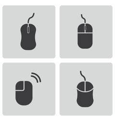 black computer mouse icons set vector image vector image