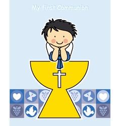 Boy first communion card vector