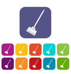 Broom icons set vector