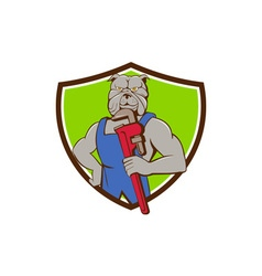 Bulldog plumber monkey wrench crest cartoon vector