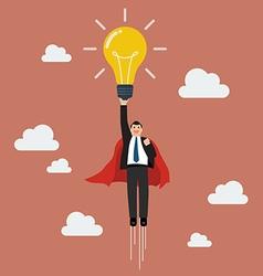 Businessman superhero holding creative lightbulb vector image vector image