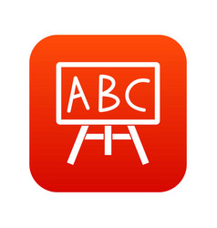 Chalkboard with the leters abc icon digital red vector