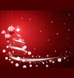 Christmas red background with blizzard and stars vector