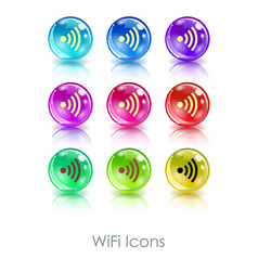 color balls with wifi symbol app icon useful for vector image vector image