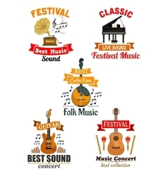 Emblems and icons for music festival concert vector image vector image