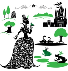 Fairytale Set - silhouettes of Princess and frog vector image vector image
