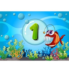 Flashcard number one with 1 fish underwater vector