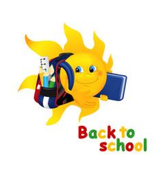 Funny cartoon sun with school bag vector