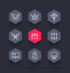 Game line icons armor crossbow chest arrows vector