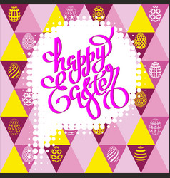 hand drawn lettering happy easter on a seamless vector image vector image