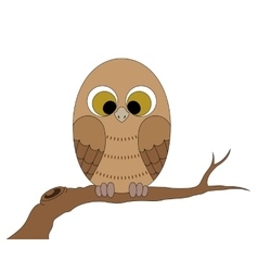 Little owl sitting on a branch vector image