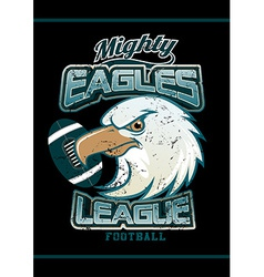 Mighty eagles league football team on black vector