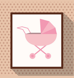 Pink baby carriage polka dots background vector
