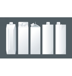 set of white carton beverage pack for milk vector image