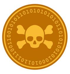Skull crossbones digital coin vector