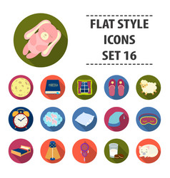 Sleep and rest set icons in flat style big vector