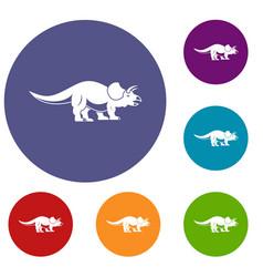 styracosaurus icons set vector image