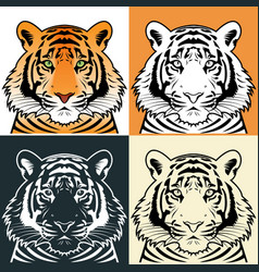 Tiger head silhouette vector image