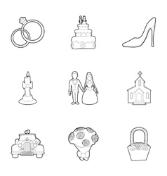 Wedding ceremony icons set outline style vector