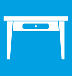 Wooden table icon white vector