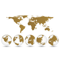 world map and globe detail eps 10 vector image vector image