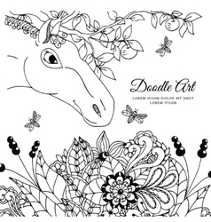 Zentangl the horse in flowers vector