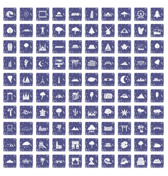 100 view icons set grunge sapphire vector image vector image