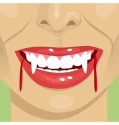 Female vampire bloody mouth showing fangs vector