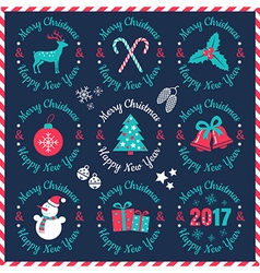 set christmas banners dark 2017 vector image