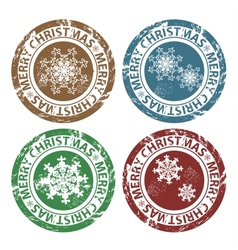 Grunge merry christmas stamps vector