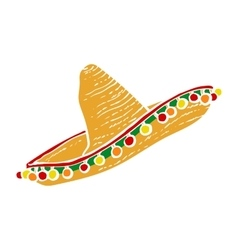 Traditional mexican wide brimmed sombrero hat vector