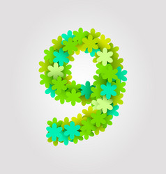 floral numbers green flowers vector image