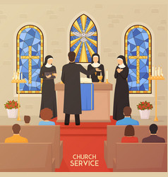 Church service religious ceremony flat banner vector