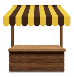 Wooden market stall with yellow and brown awning vector