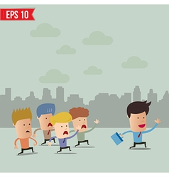 Business cartoon team group with leader - - vector