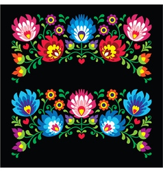 Polish floral folk embroidery patterns for card o vector