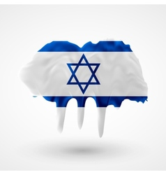 Flag of israel painted colors vector